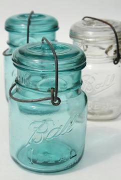 antique vintage glass canning jars w/ 1908 patent dates, bail lid blue glass Ball jars