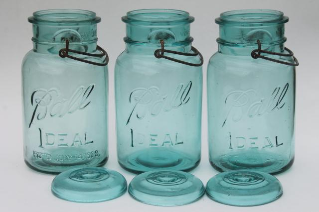 antique vintage glass canning jars w/ 1908 patent dates, bail lid blue glass Ball jars