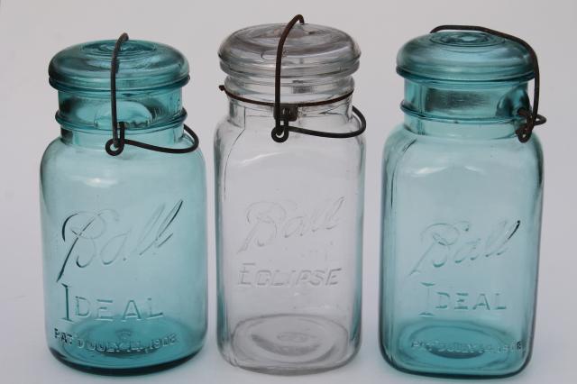 Antique Vintage Glass Canning Jars W 1908 Patent Dates Round