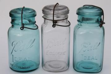 antique vintage glass canning jars w/ 1908 patent dates, round & square blue glass Ball jars