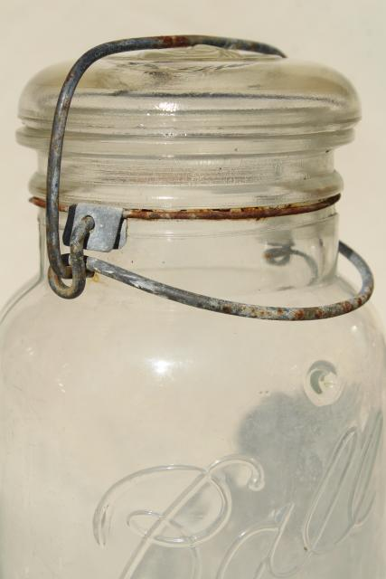 antique vintage glass canning jars w/ bail lids, Ball Ideal jars