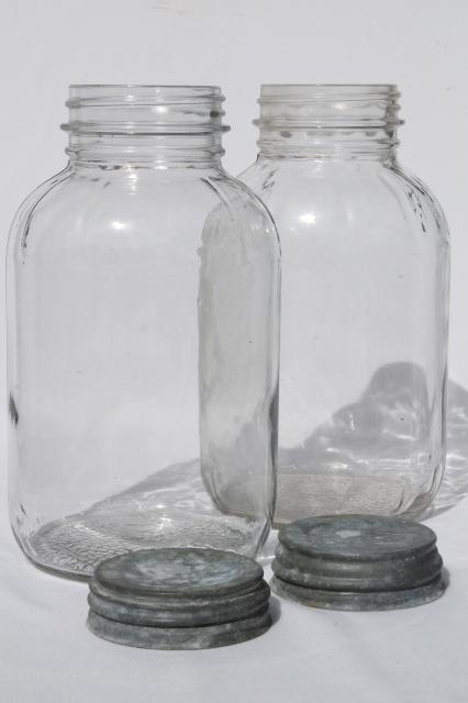 antique vintage glass jar lot w/ old zinc lids, large food bottles / canning jars