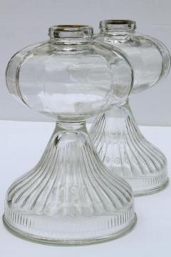 antique vintage glass oil lamps, large old-fashioned kerosene lamp bases