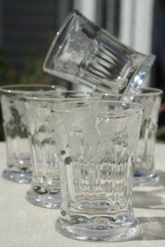 antique vintage glass tumblers, tiny cordial glasses heavy pressed glass w/ etched grapes