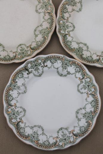 antique vintage green transferware china plates, Marie pattern ...