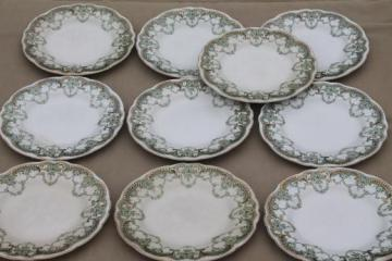 antique vintage green transferware china plates, Marie pattern English Staffordshire