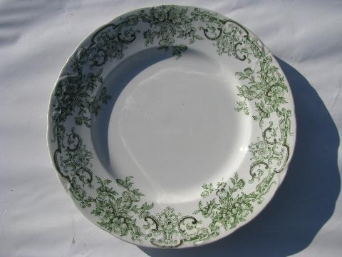 antique vintage green transferware china plates Stratford - Alfred Meakin - England & antique vintage green transferware china plates Stratford - Alfred ...