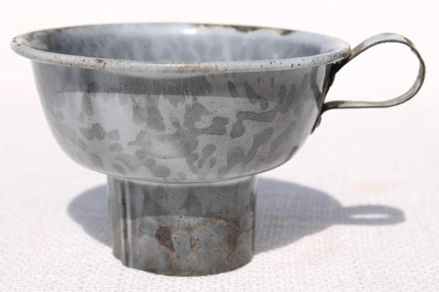 antique vintage grey graniteware enamel ware funnel and stainer bowl w/ handle