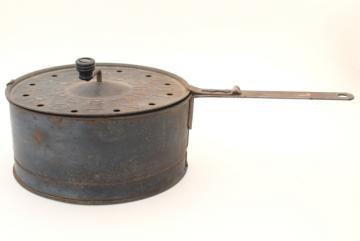 antique vintage hand crank pop corn popper, old Karo Mazola stove top popcorn popper