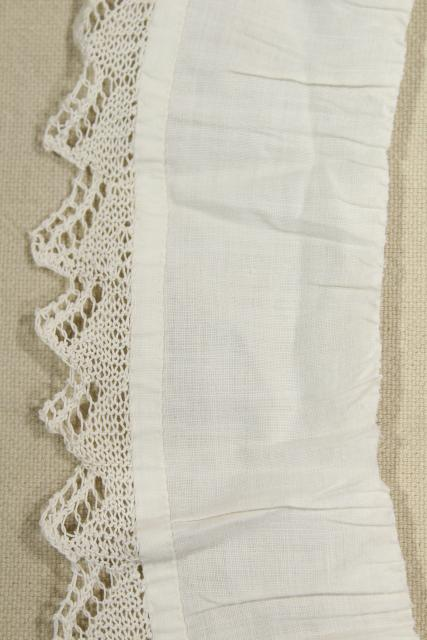 antique vintage hand knitted lace flounce, fine cotton ruffle baby trim thread lace edging