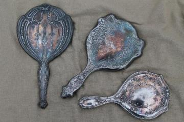 antique vintage hand mirrors, tarnished worn silver w/ shabby silvered mirrors
