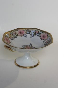 antique vintage hand painted Nippon candy dish, art nouveau flowers gold moriage