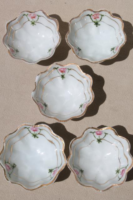 antique vintage hand painted Nippon china nut dishes, tiny fluted ...
