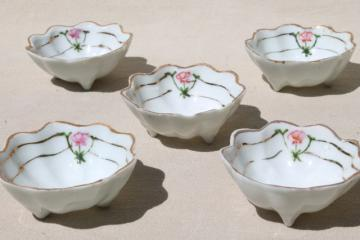 antique vintage hand painted Nippon china nut dishes, tiny fluted porcelain bowls