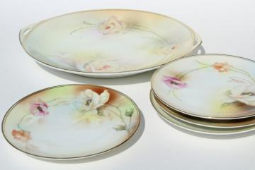antique vintage hand painted Prussia china dessert set, tray & cake plates