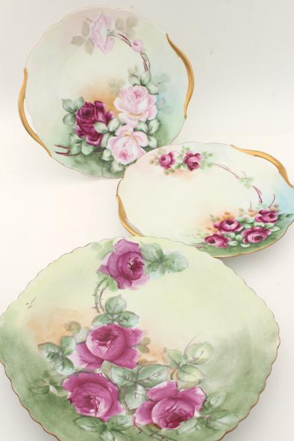 Antique Vintage Hand Painted China Plates Pink Roses Cake