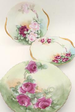 antique vintage hand painted china plates, pink roses cake trays / serving plate lot