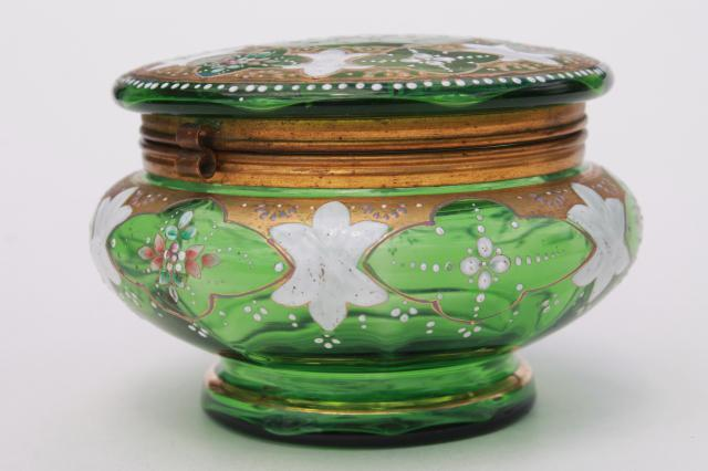 antique vintage hand painted enamel green glass vanity table powder puff box