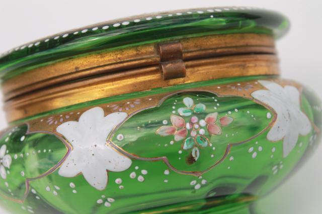 Antique Vintage Hand Painted Enamel Green Glass Vanity