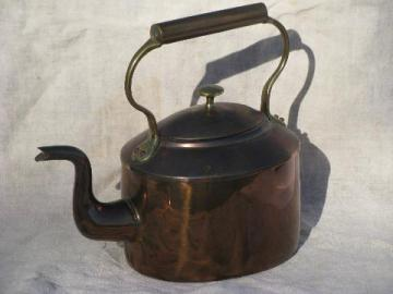 antique / vintage hand-crafted dovetailed copper tea kettle S&S W mark