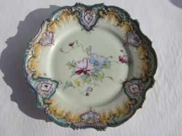 antique vintage hand-painted Nippon china plate, coralene enamel floral