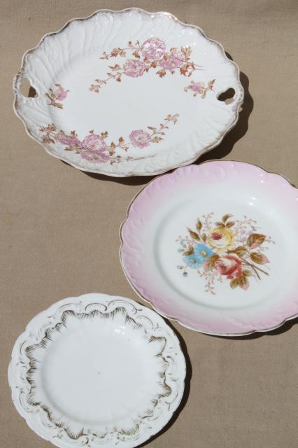 antique vintage hand-painted china plates w/ rose pink flowers u0026 ornate gold & antique vintage hand-painted china plates w/ rose pink flowers ...