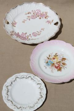 antique vintage hand-painted china plates w/ rose pink flowers & ornate gold