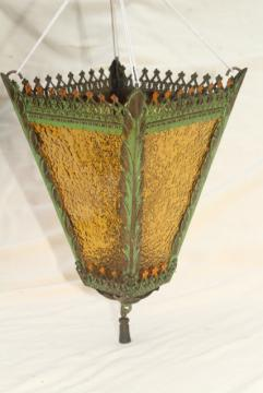antique vintage hanging light lamp shade, amber glass w/ painted metal lantern