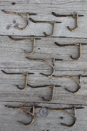 antique vintage hardware lot, authentic old wall mount wire coat hooks w/ shabby paint