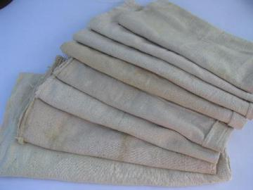 antique vintage homespun cotton fabric feed bags, primitive grain bag sack lot