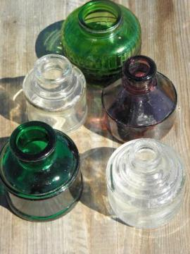 antique & vintage ink bottles, old colored glass bottle lot