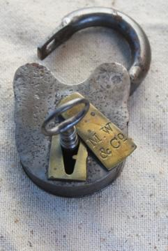 antique vintage iron & brass padlock w/ skeleton key, Mallory Wheeler MW stamp railroad lock