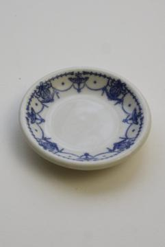 antique vintage ironstone china butter pat plate, blue & white transferware