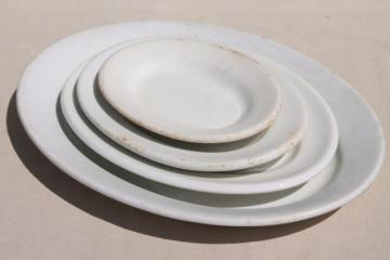 antique vintage ironstone china platter collection, large & small oval platters