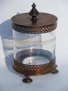 antique vintage jam pot or sugar, old enameled glass jar in sheffield silver stand