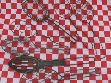 antique vintage kitchen utensils, flat wirework whip spoons & whisks