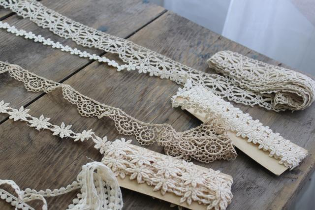 antique vintage lace edgings & sewing trim remnants, ball fringe, embroidered daisies