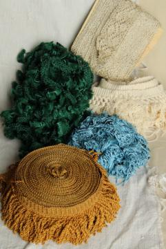 antique & vintage lampshade or upholstery trim, bullion fringe, silky rayon tassels, lace
