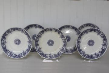 antique vintage lavender purple transferware china, Savannah Johnson Bros England soup bowls
