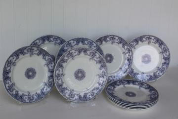 antique vintage lavender purple transferware china plates, Savannah Johnson Bros England