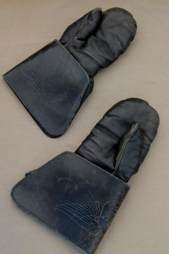 Antique Vintage Leather Motorcycle Gauntlet Mitten Gloves