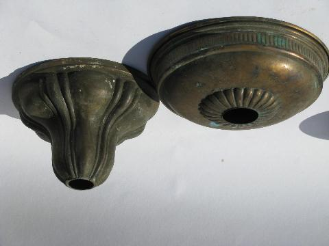 Antique Vintage Lighting Brass Lamp Replacement Parts Ceiling Light Canopy  Lot