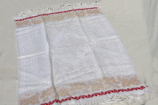 antique vintage linen damask fringed towels with turkey red cherries border