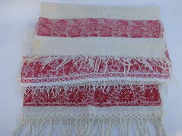 antique vintage linen damask towels, turkey red floral borders