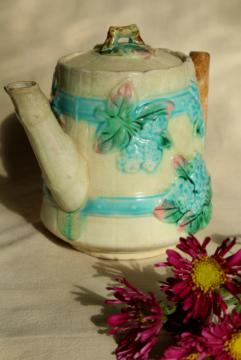 antique vintage majolica pottery hydrangea flower barrel coffee or tea pot, blue floral
