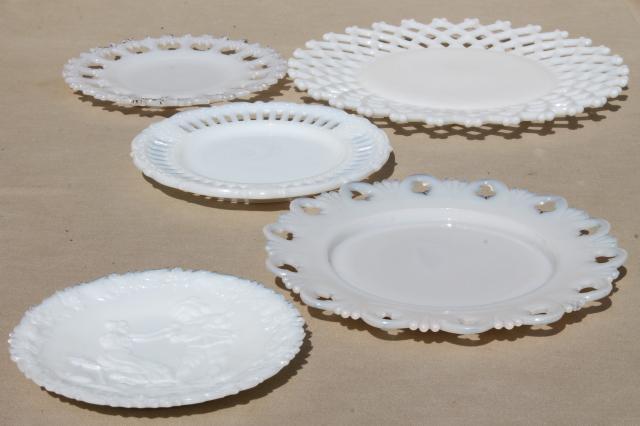 Antique Amp Vintage Milk Glass Plates Lace Edge Reticulated