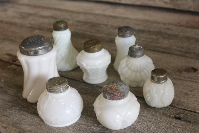 antique vintage milk glass shakers, Victorian era EAPG pressed glass patterns