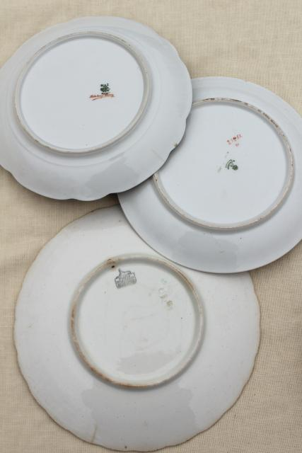 antique vintage mismatched china plates, fruit & cheese plates w/ grapes apples pears