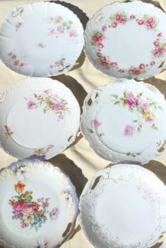 antique vintage mismatched floral china trays or serving plates w/ different roses flowers