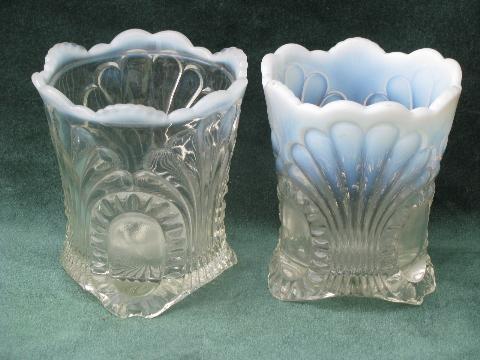 Antique Vintage Moonstone Glass Spooner Or Celery Vase And Candy Dish